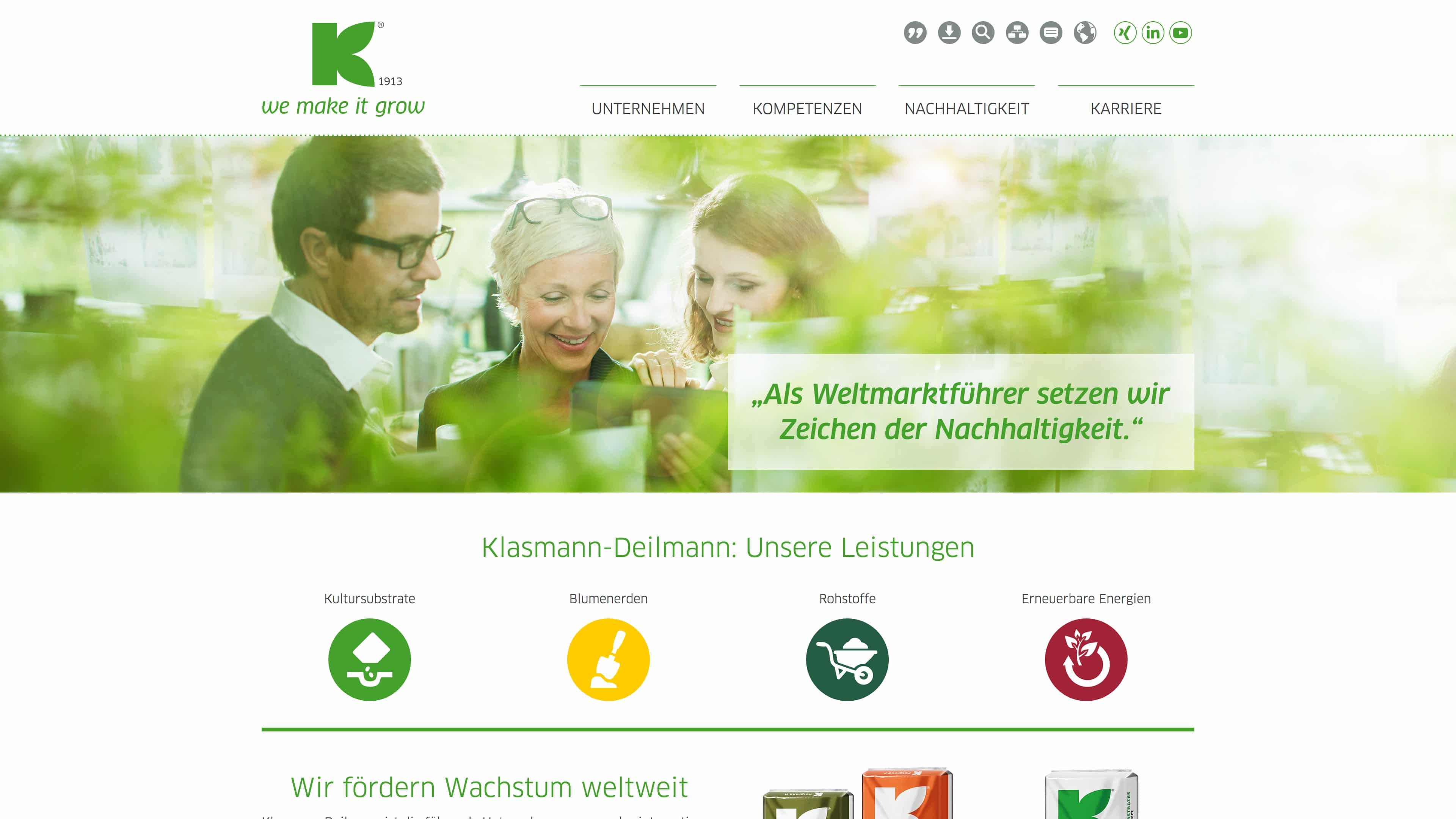 "Website ""Klasmann-Deilmann"" - Webdesign"
